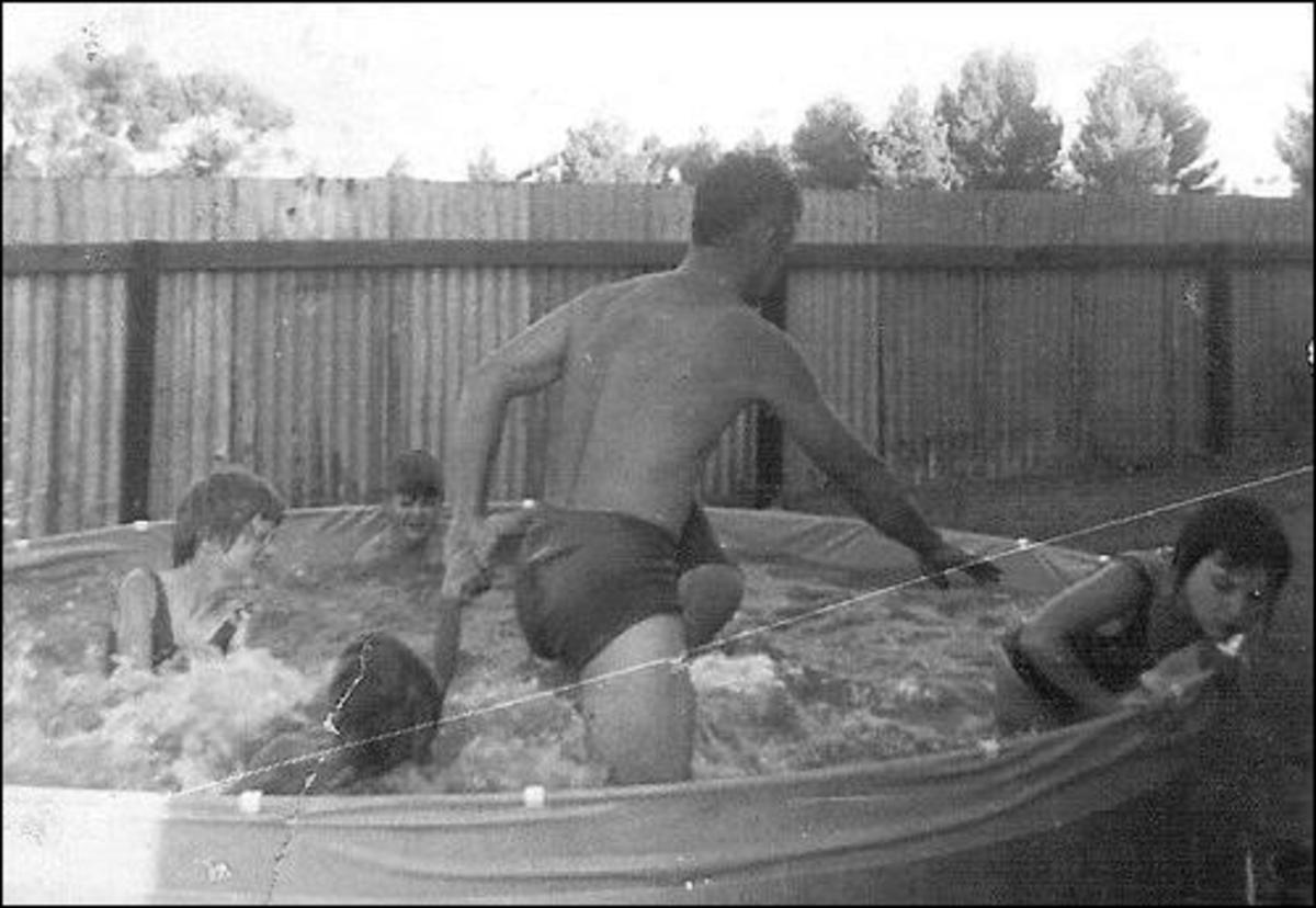 Enjoying Christmas day in Lamaroo, South Australia 1967