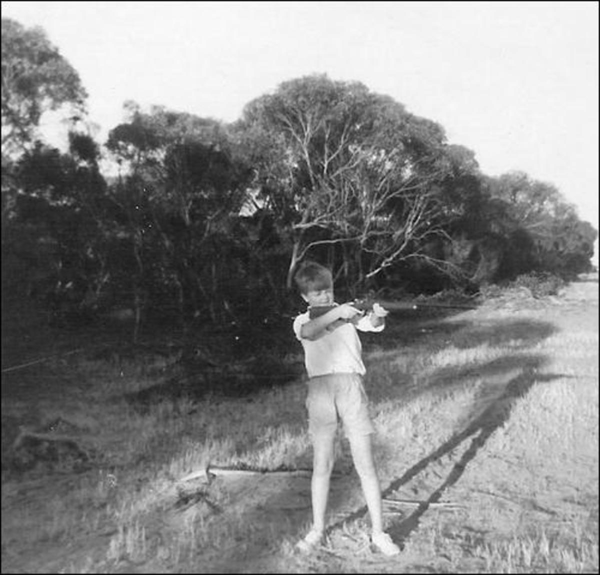 My brother with his fist ever gun in Australia.