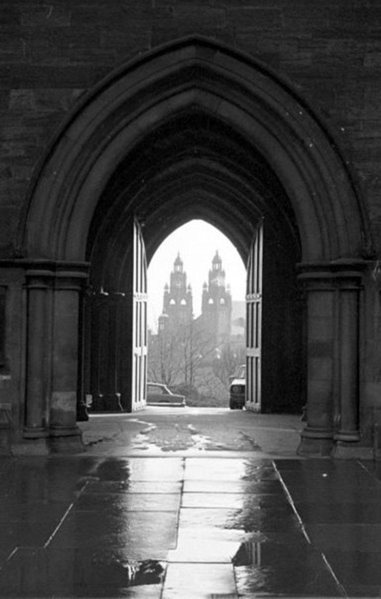 kelvin hall, from university cloisters