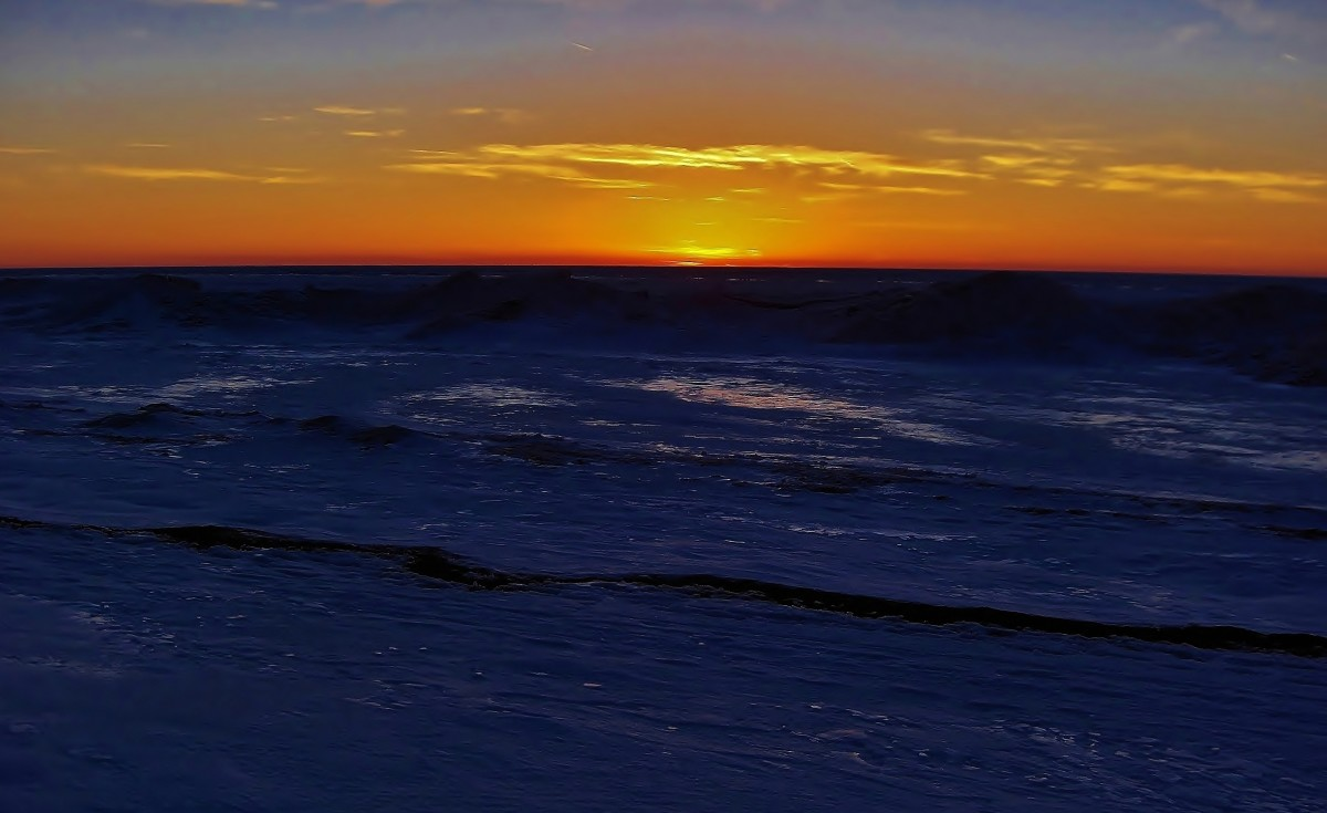 Lake Michigan Sunset over Ice Shelf