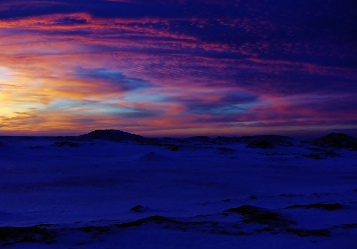 Lake Michigan Sunset over Ice Shelf