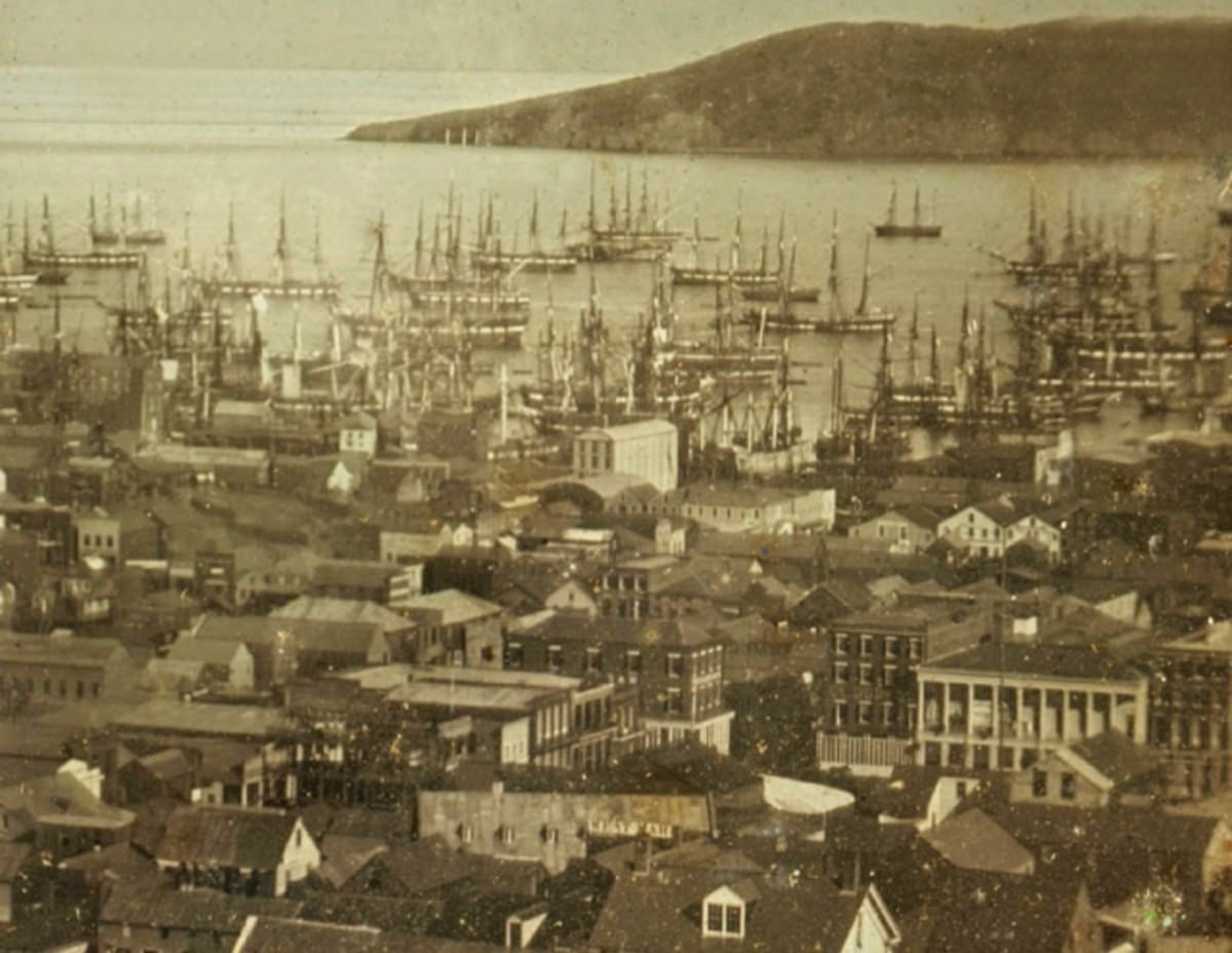 San Francisco Bay harbor with sailing ships.