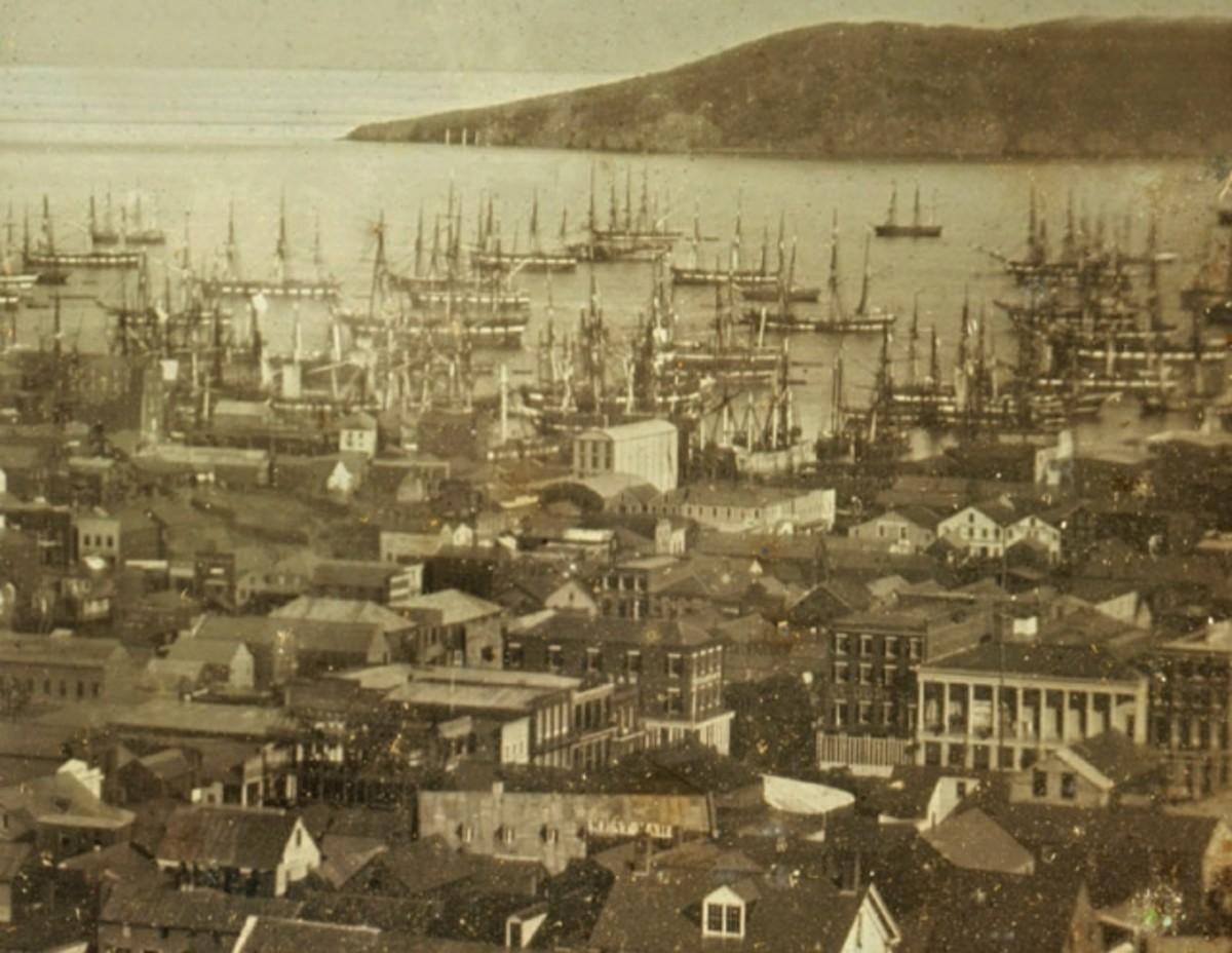San Francisco Bay harbor with sailing ships.