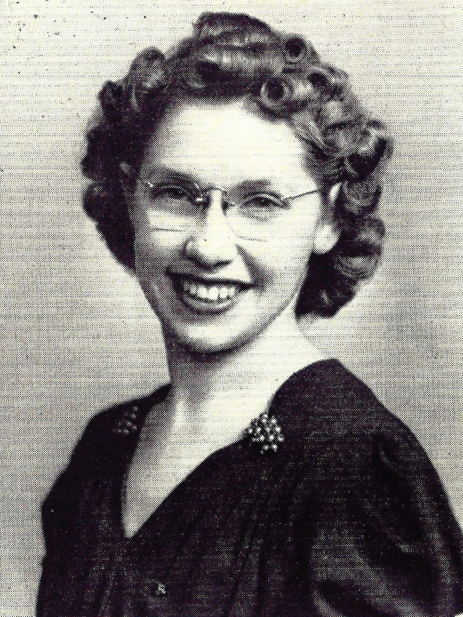 Here is her photo from the professional pharmacy sorority Lambda Kappa Sigma at Drake University in 1941.