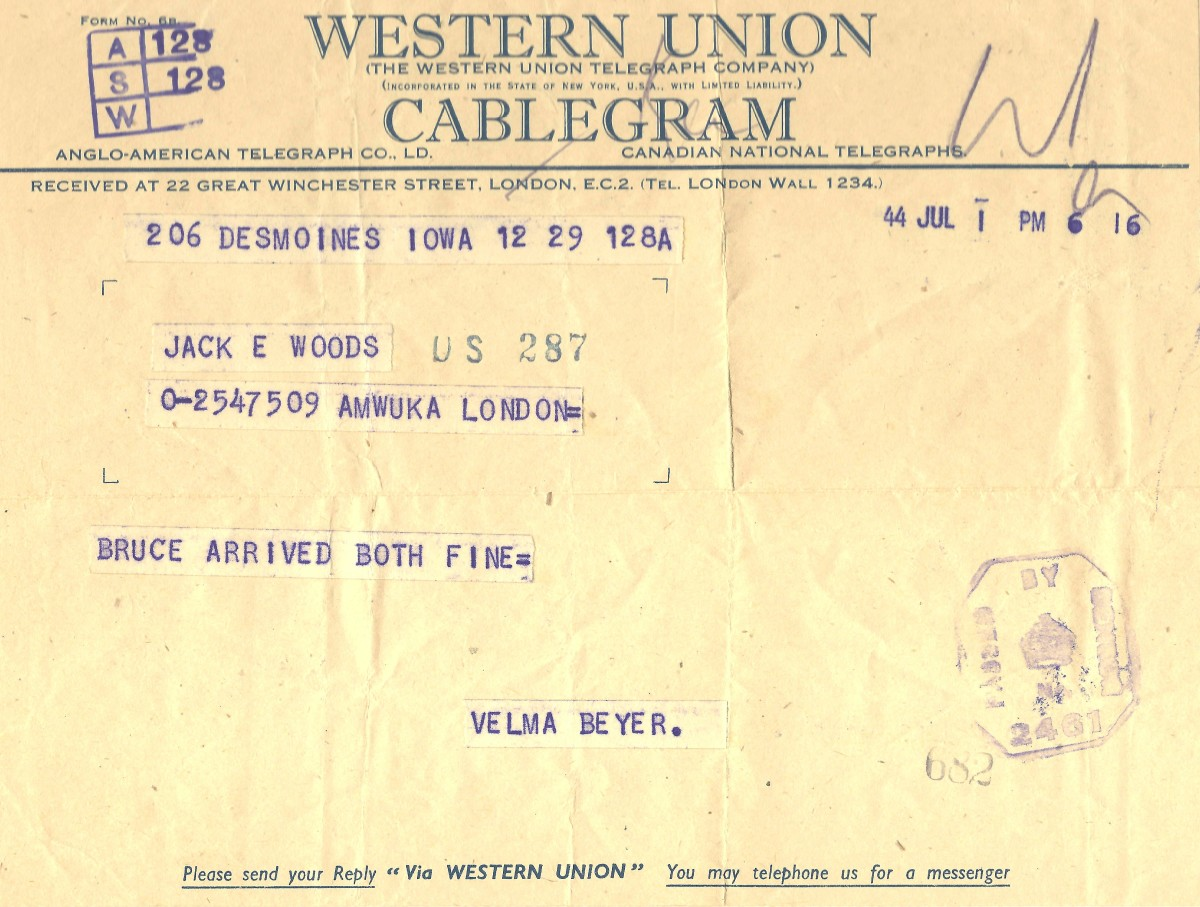Western Union Cablegram notifying Jack that he had become a father.