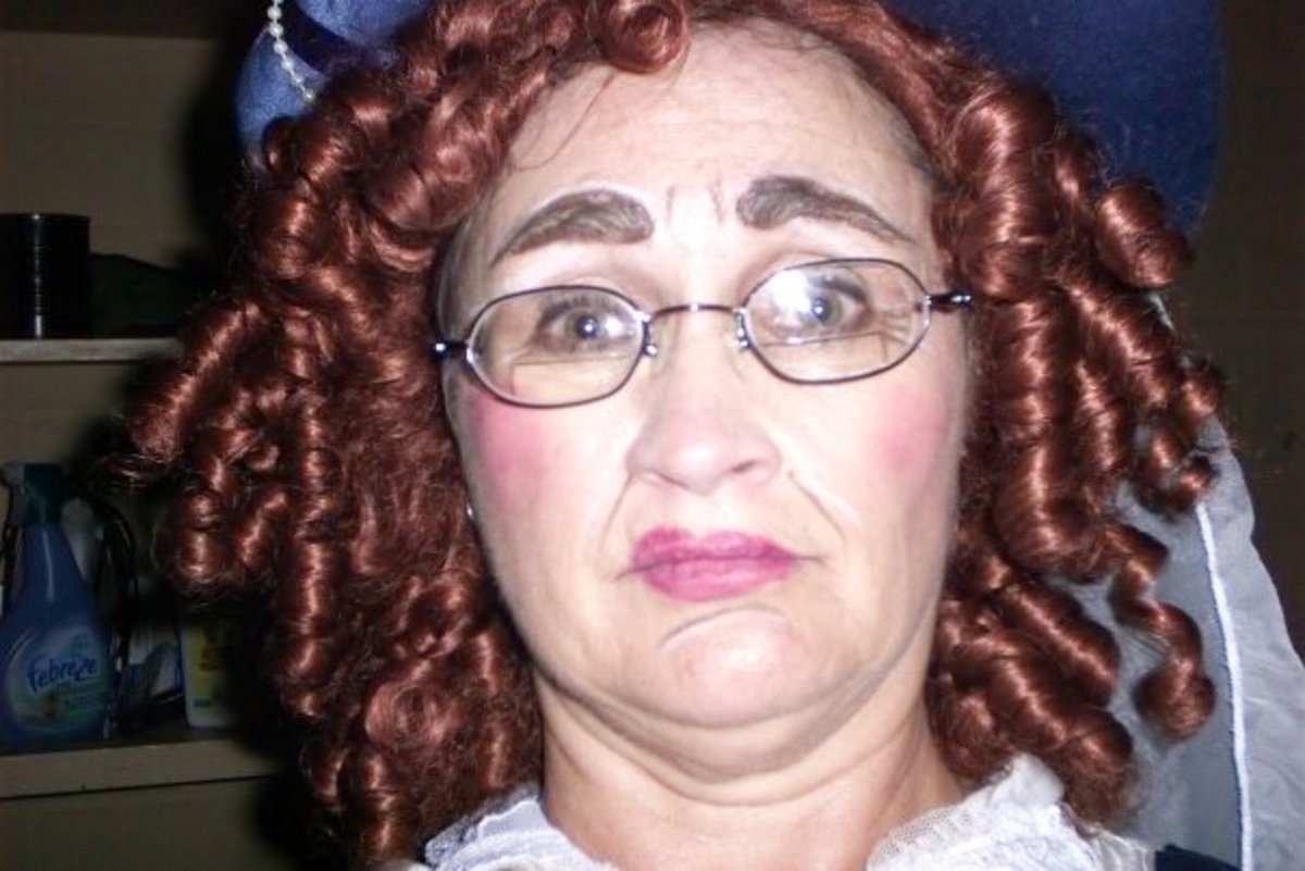 Here Chris is in costume in a comedic role in a play. She looks more like Raggedy Ann than a fairly princess.