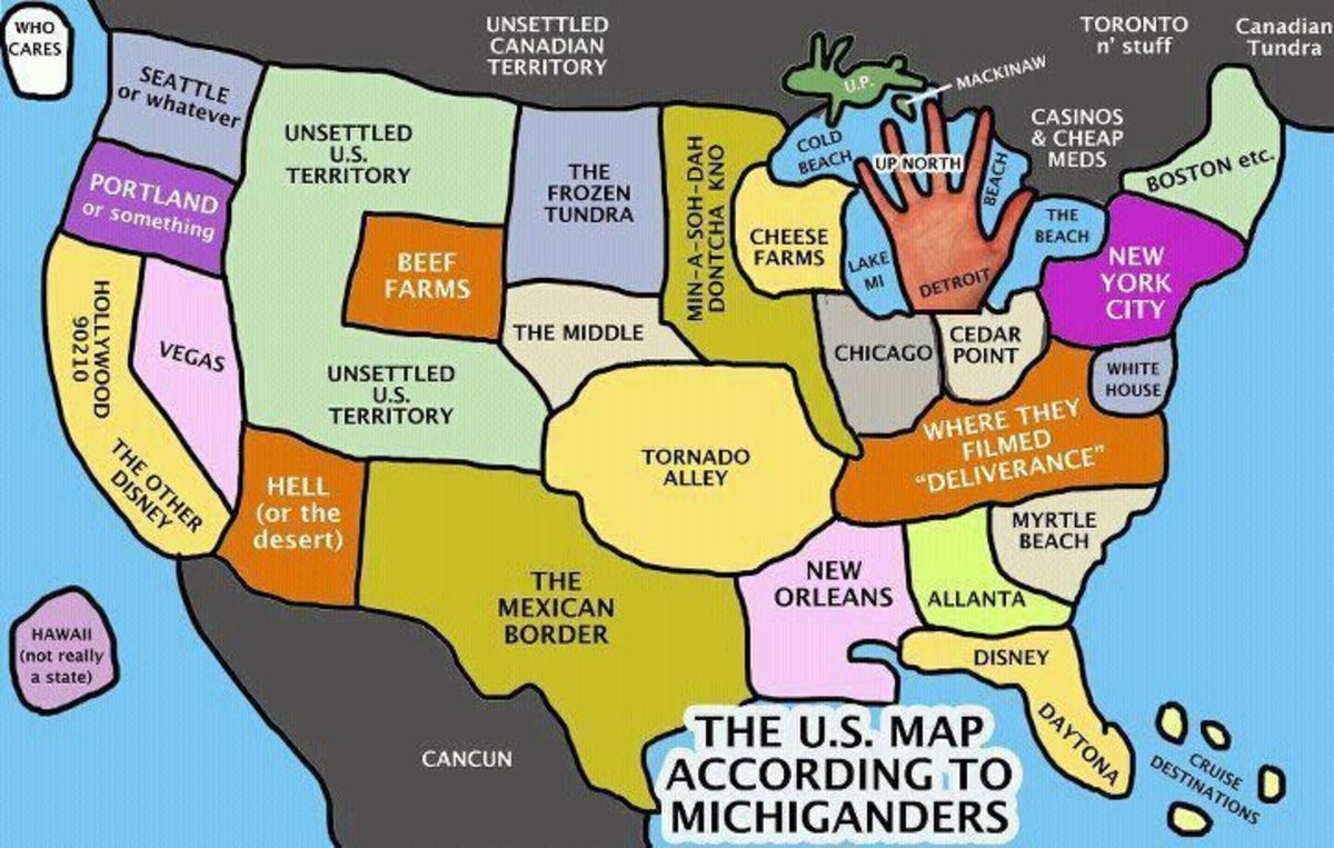 Parody map of the US according to MichigandersStereotypical American Map