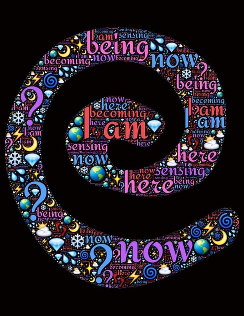 Spiral words, Thoughts, Mindfulness, Awareness, Awake