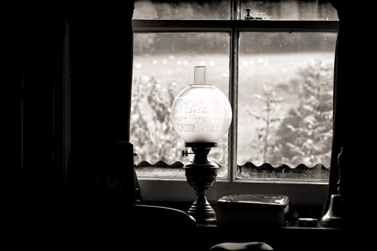 Oil Lamp, Lamp, Light, Window, Black and White