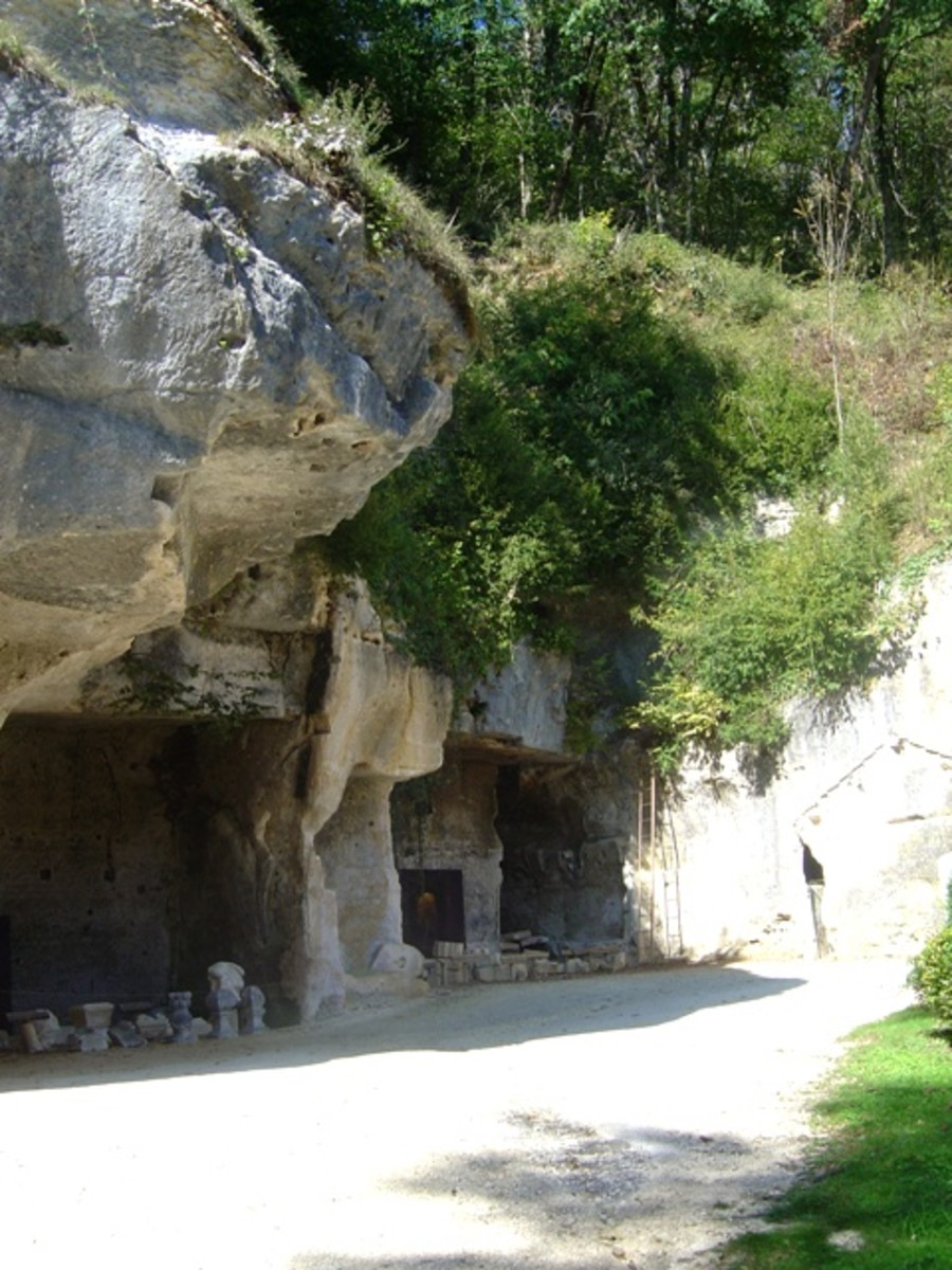 The rocks overhang cave entrances