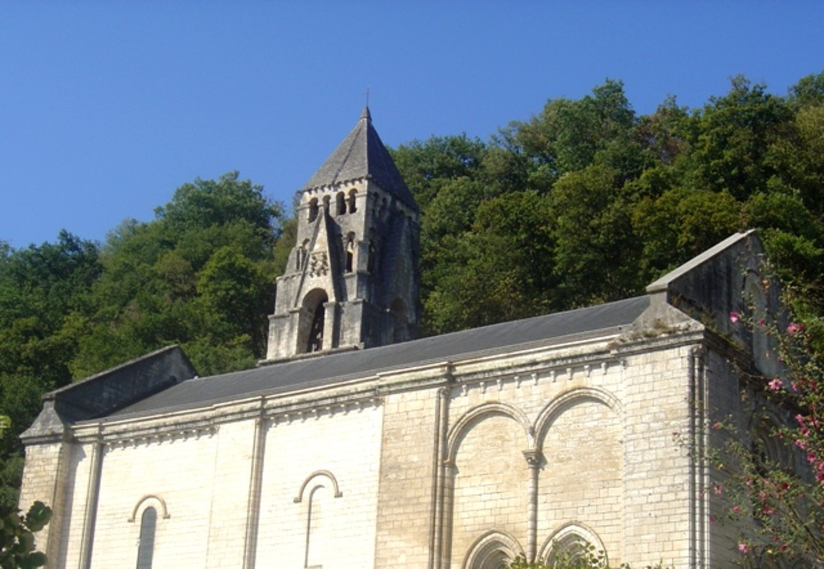 The abbey church Brantome, and bell tower