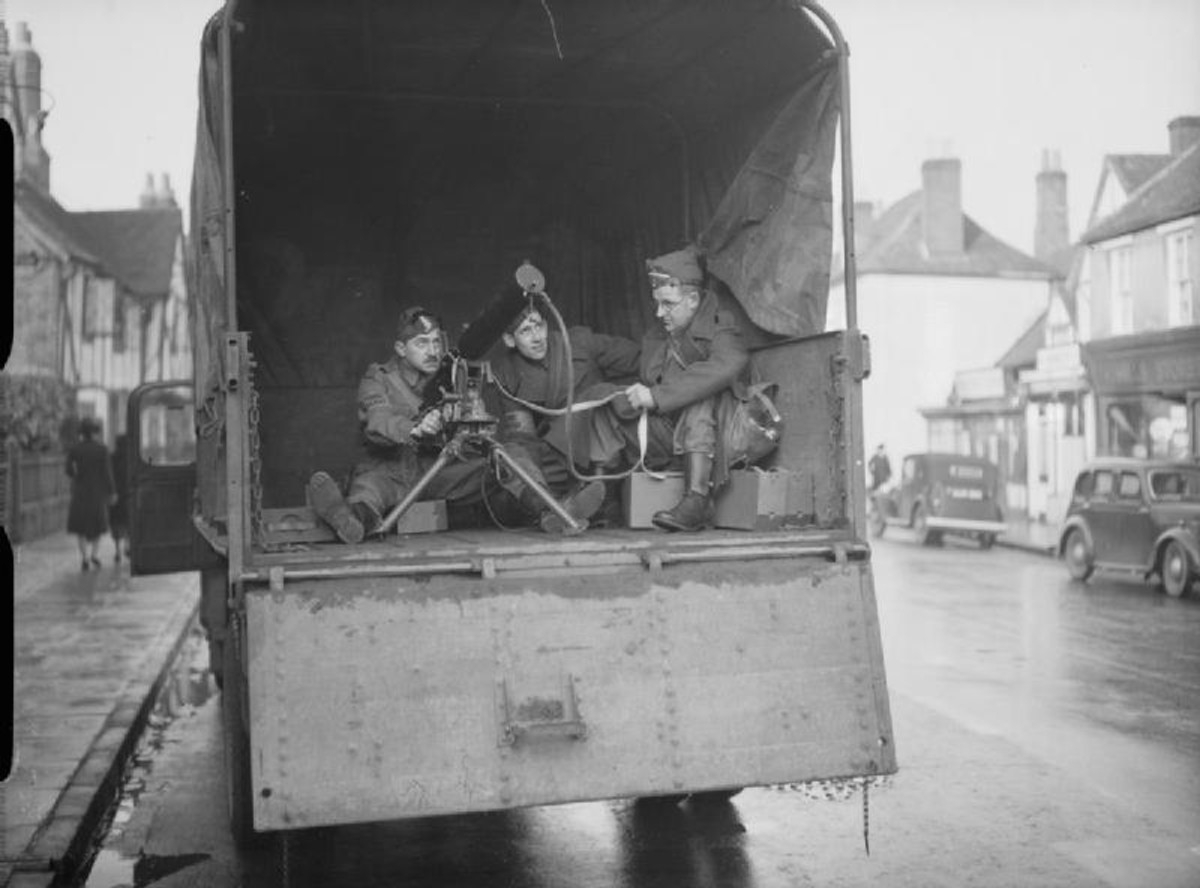 WW2: Home Guard pictured with their Vickers gun mounted in an army lorry.
