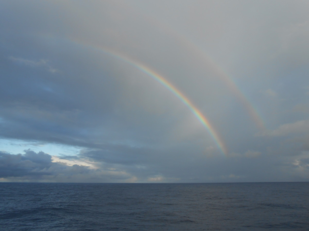 A double rainbow as seen from our cabin balcony!