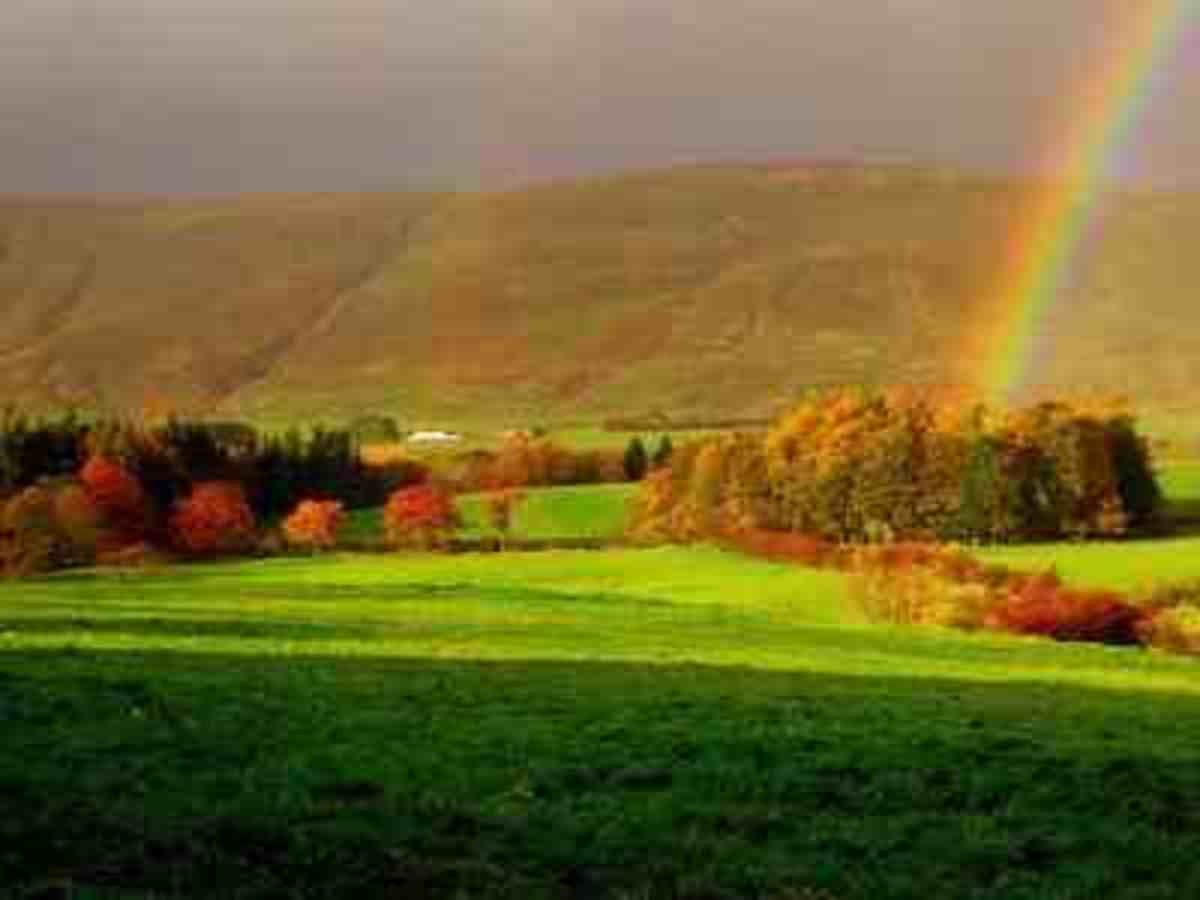 Pot of gold at the end of a Rainbow Stock Photo