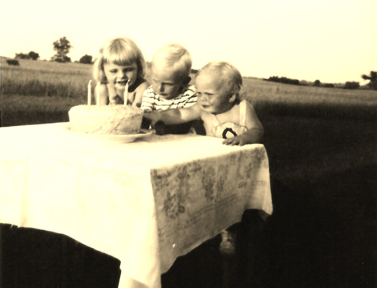 There I am on the left with my cousin Tom and my brother John.  We were obviously celebrating Johnny's 2nd birthday.
