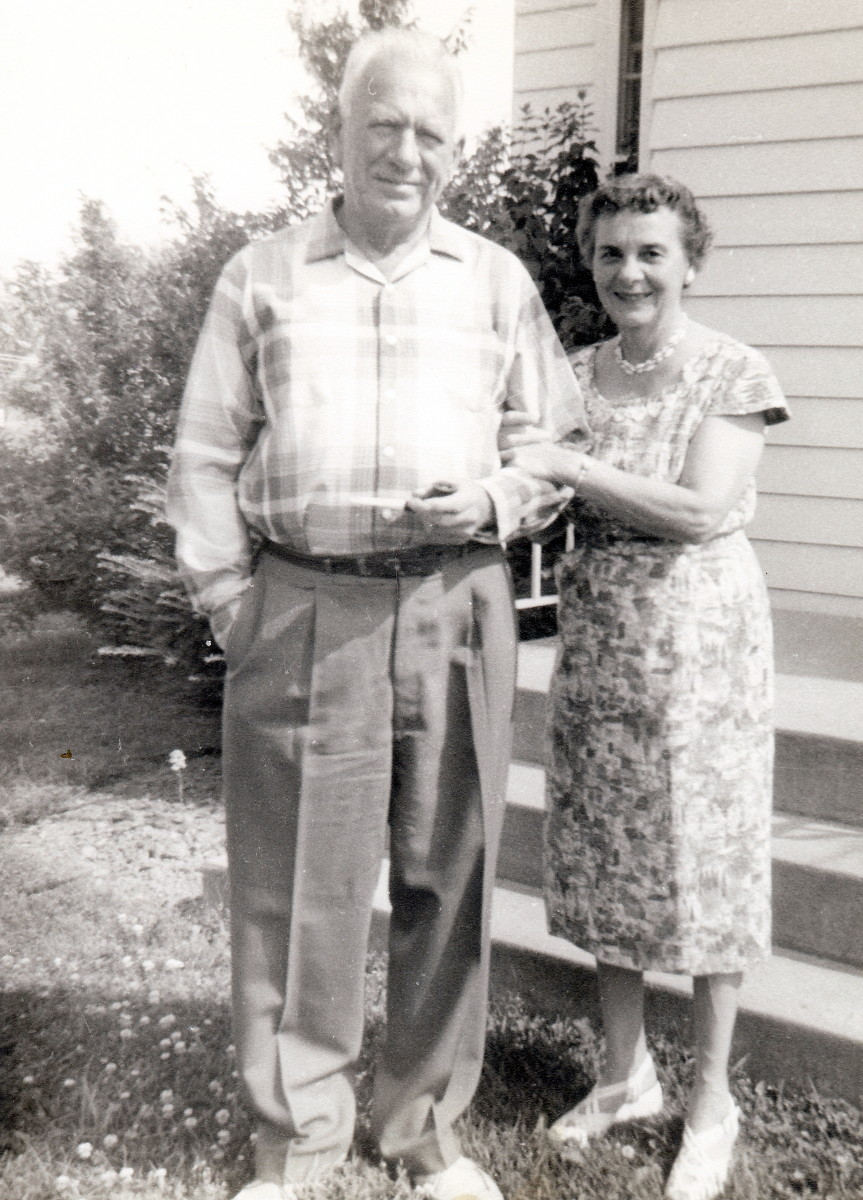 I took this photo of my maternal grandparents when they lived next door to us with my first Brownie camera.