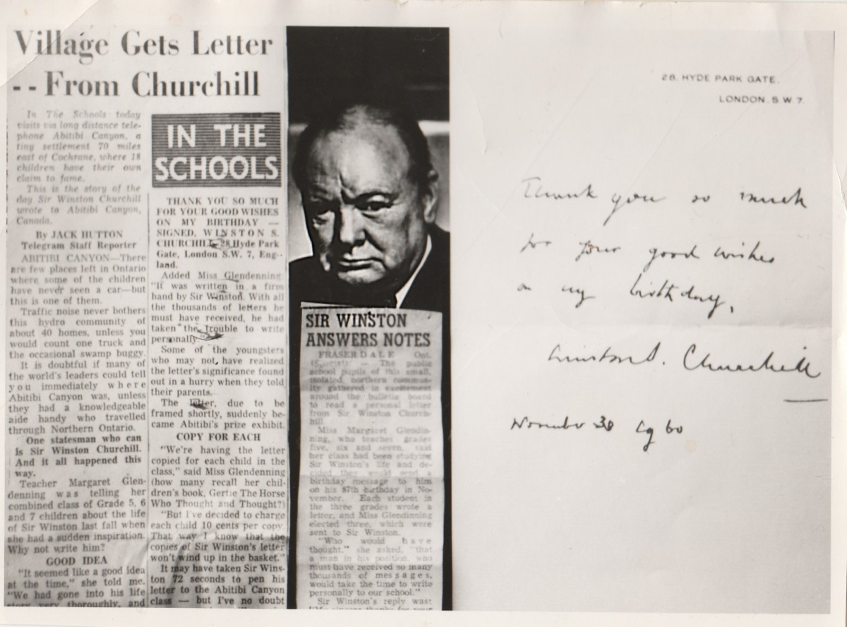 This is the article printed in the Toronto Telegram about Sir Winston writing back to the Canyon school kids.