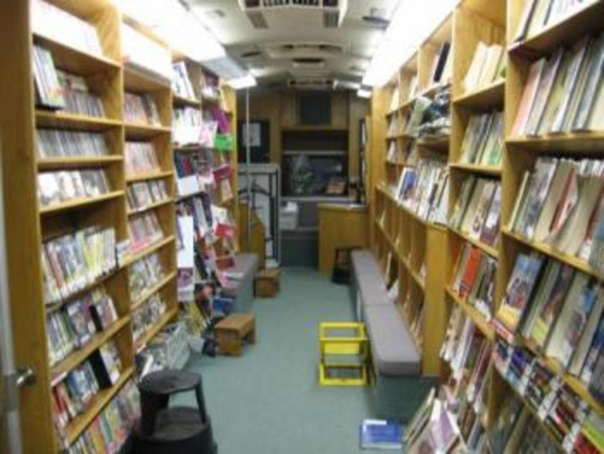 The inside of a bookmobile.