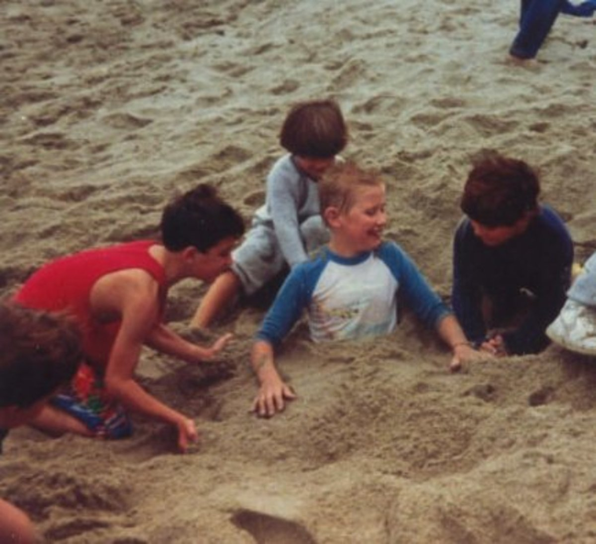 My son Jason was definitely an extrovert. Here he is at his tenth birthday party at the beach.