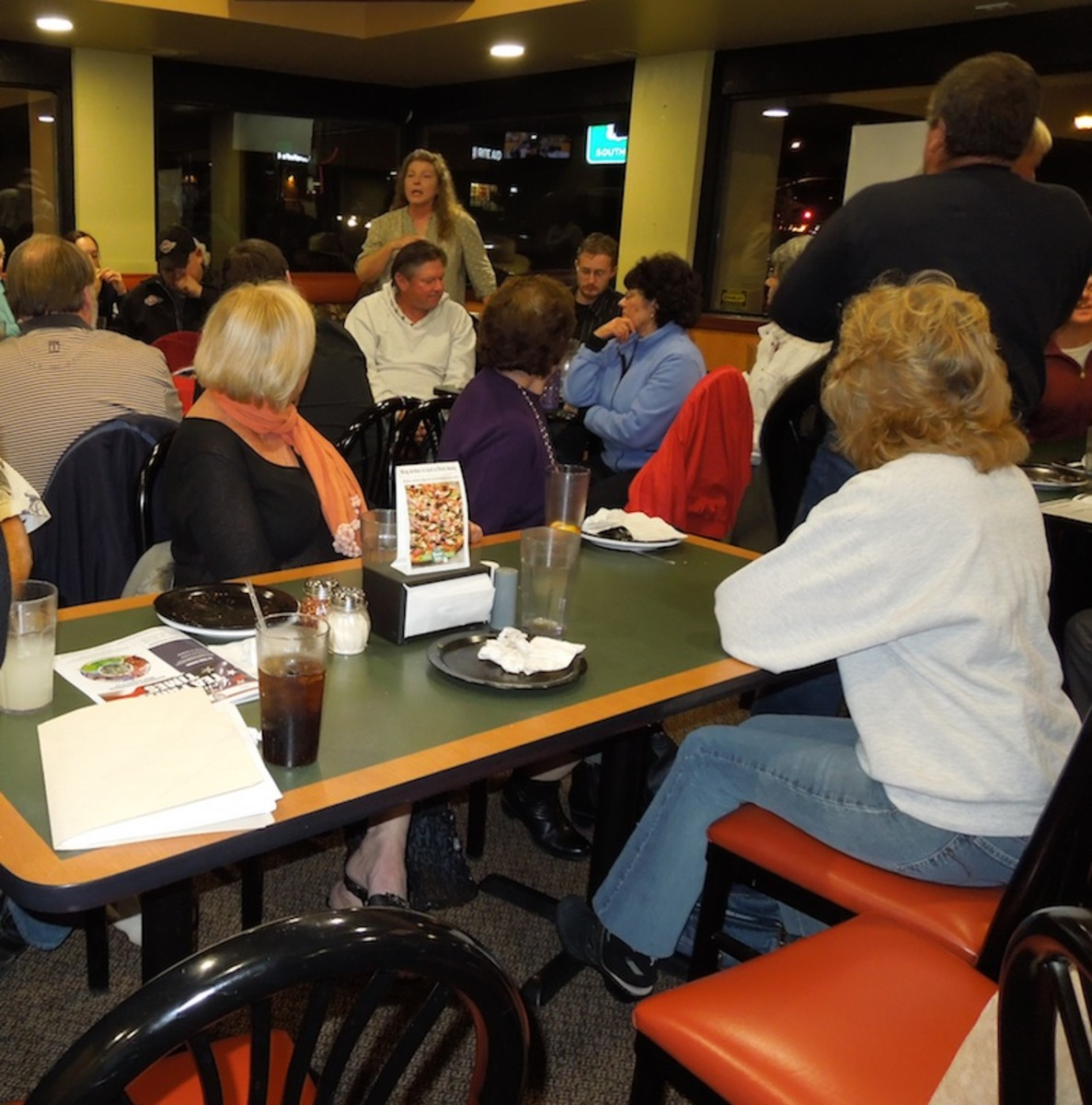 This is a political meeting at a local pizza parlor. I wanted to go because of the content of the meeting (and the pizza), but not much was demanded in the way of social interaction.