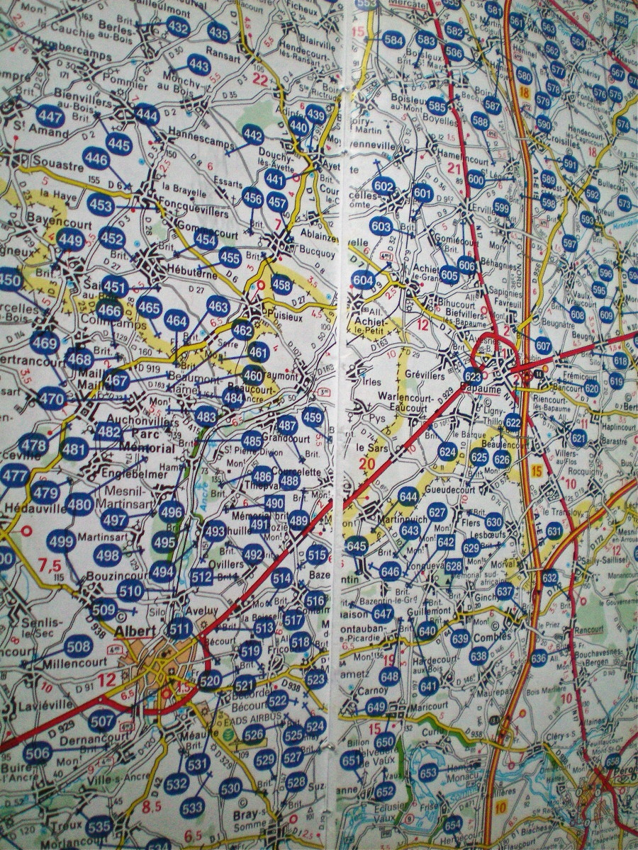 A map of the villages around Arras; each blue mark is an Allied Cemetery