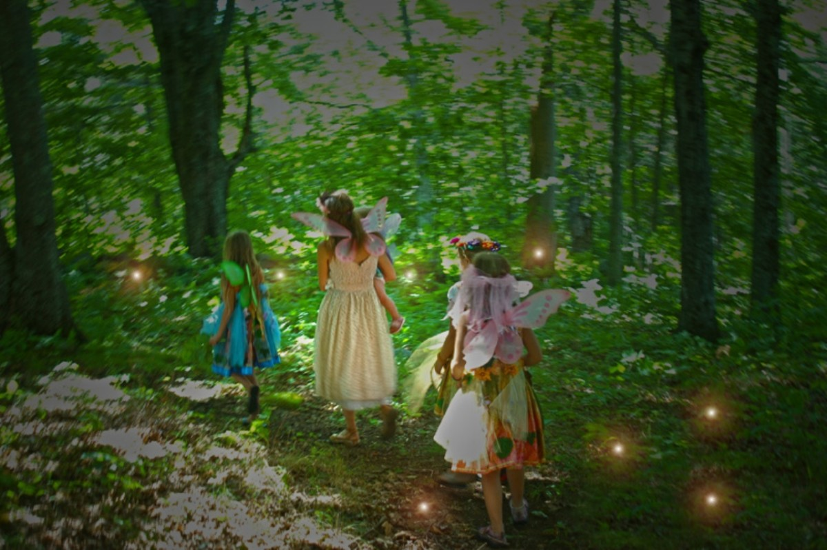 A group of beautiful maiden came passing by, but unknown to the men resting, these are fairies.