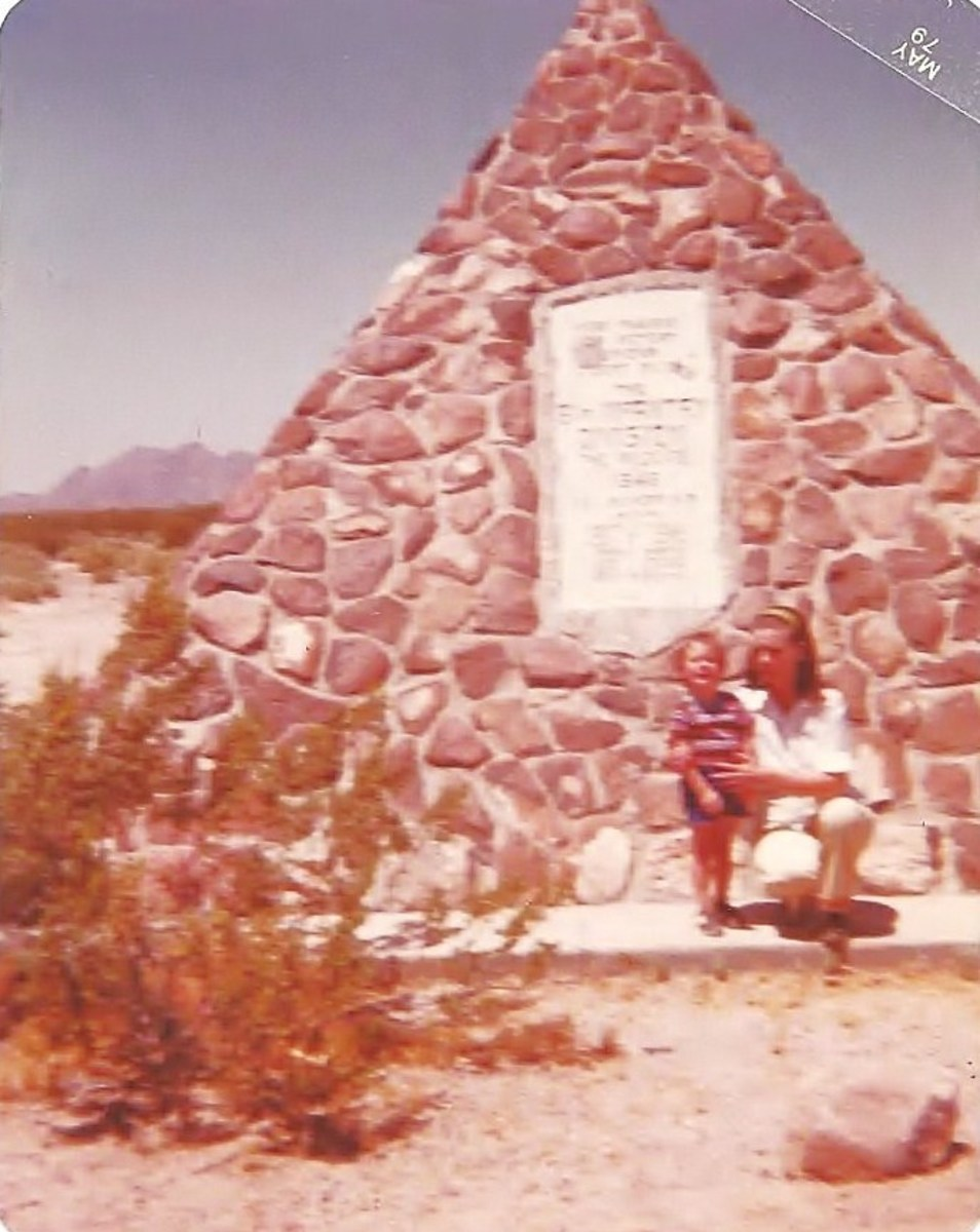 My mom and my son in front of Hyder monument