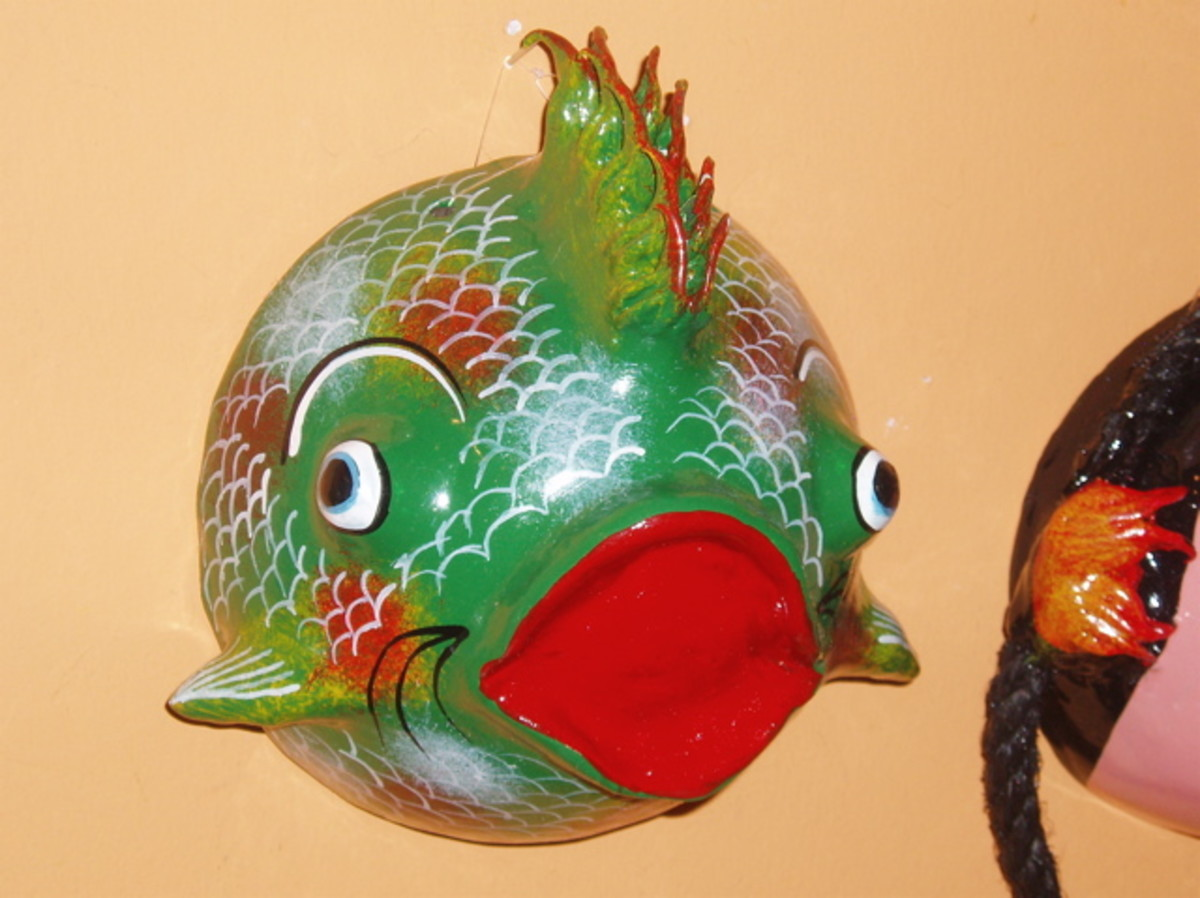 Mexico is also known for its brightly painted wood sculptures. Here is a wall-mounted fish that was displayed in the small museum onsite.