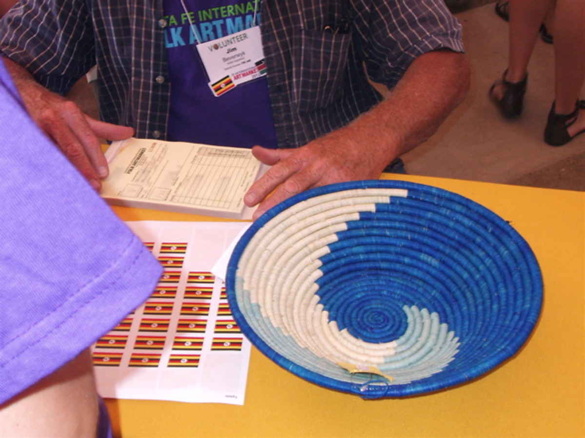 Uganda makes baskets with several different materials that give it the soft colors, including seaweed. This one was made by one of the 300 artisans who make up Uganda Crafts cooperative, many of whom are disabled.