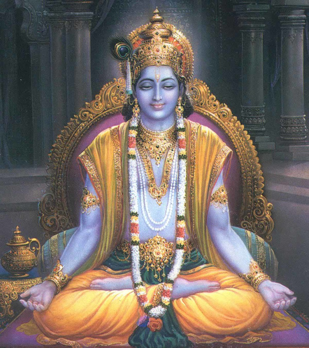 The object of meditation of millions, Lord Krishna meditates on one who gives Him selfless love!