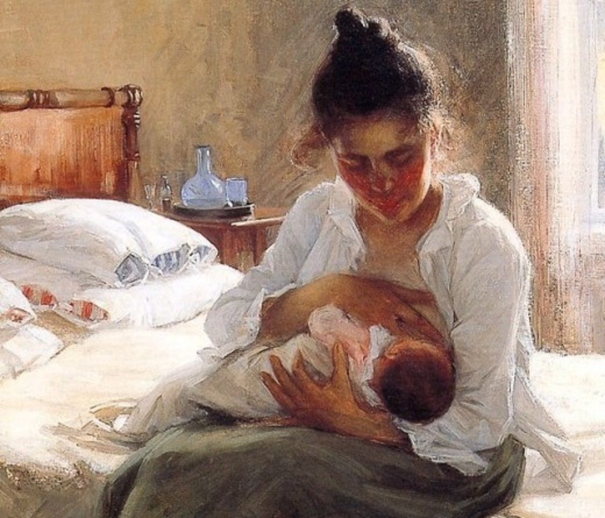 Motherhood (oil on canvas) by Elin Danielson-Gambogi