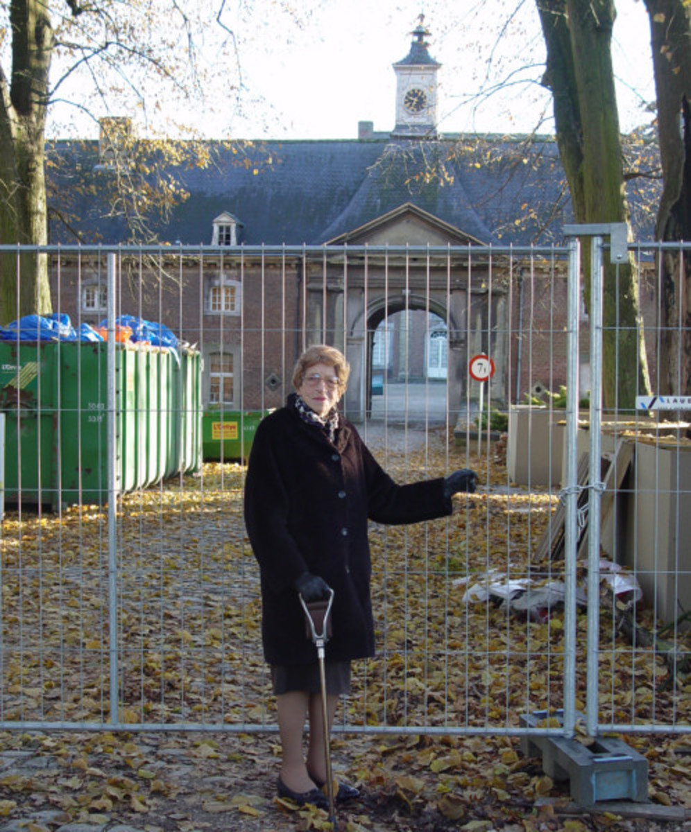 My mom at Castle Neubourg 60 years after WW2