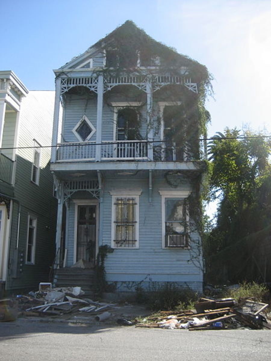 A once grand Victorian House in an advanced state of decay.