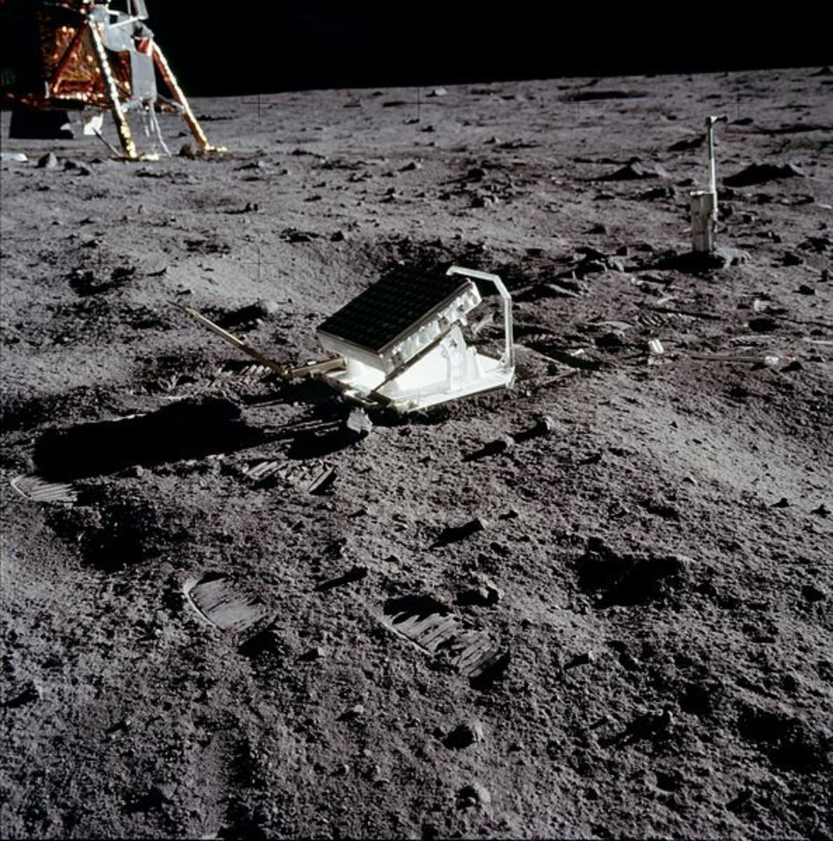 Due to the moon lacking any real weather, evidence of humans like the equipment and footprints pictured here will last millions of years virtually unchanged.