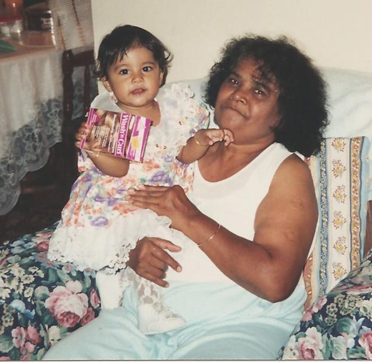 My daughter and her paternal grandmother. She used to dress my husband in girl clothes when he was a little boy because she wanted a little girl of her own.