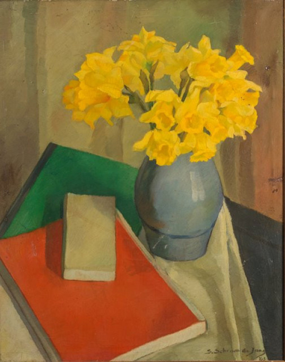 Still live Daffodils in pot and red and green books