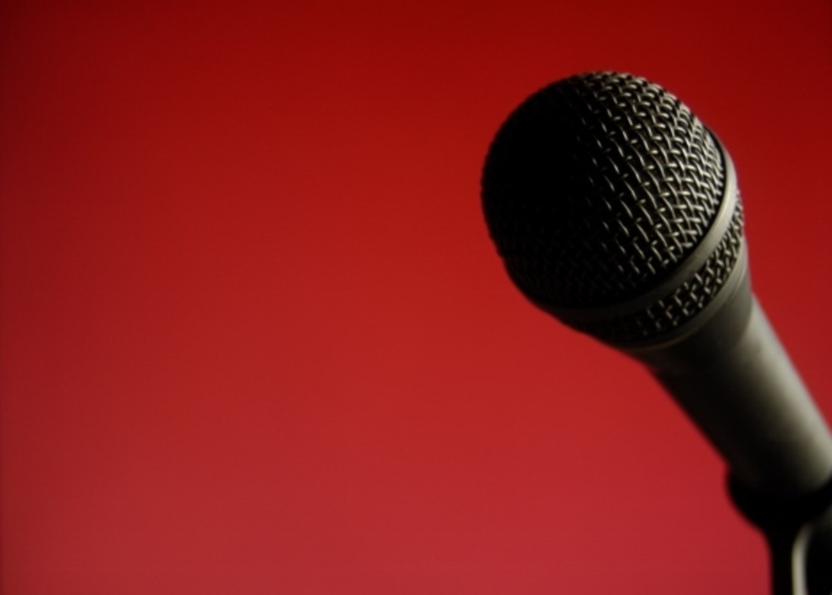 The spoken word poet's microphone is ready for the colorful play of words.