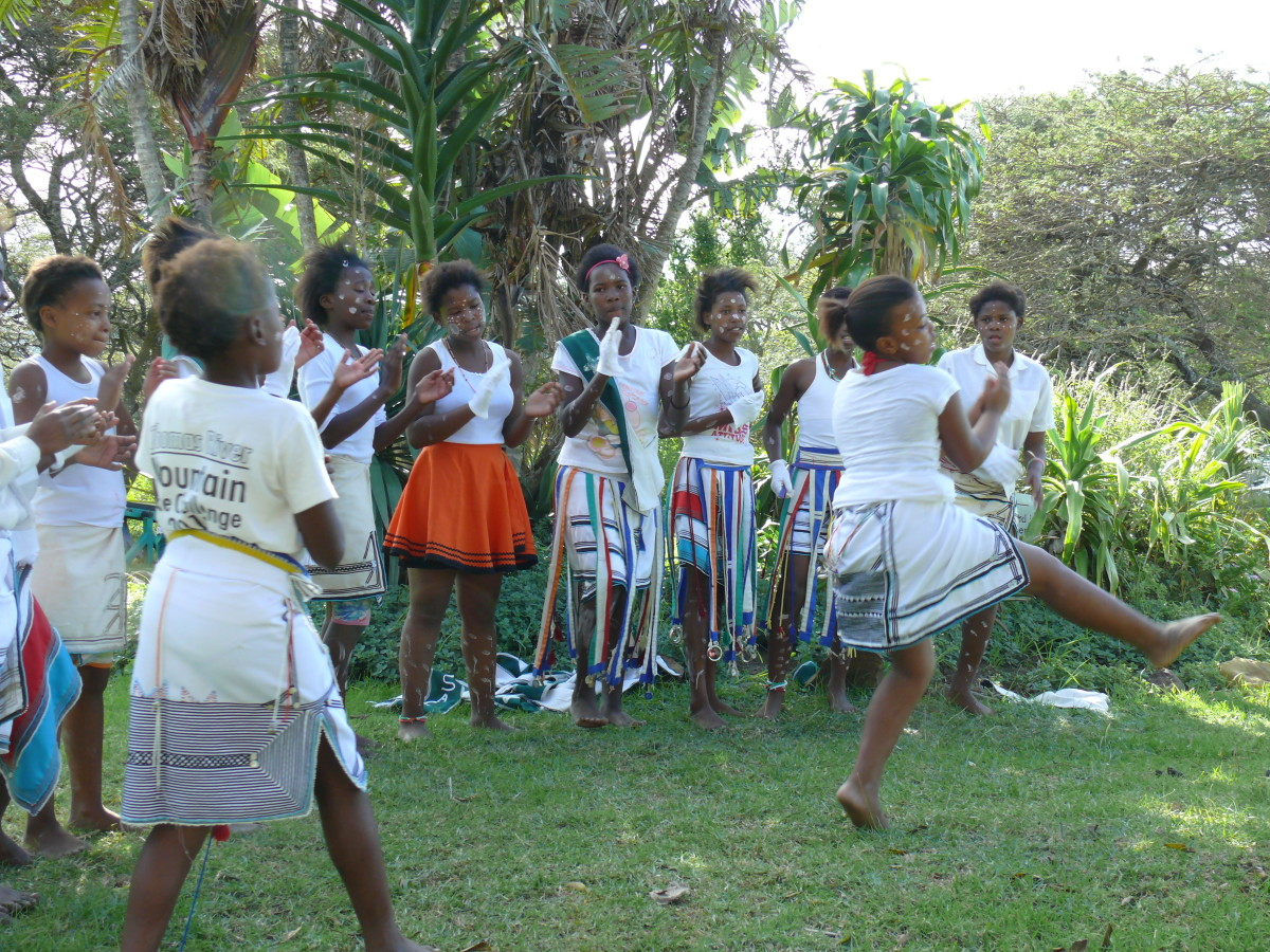 Some local children entertaining guests at the Country Kitchen restaurant in Chintsa