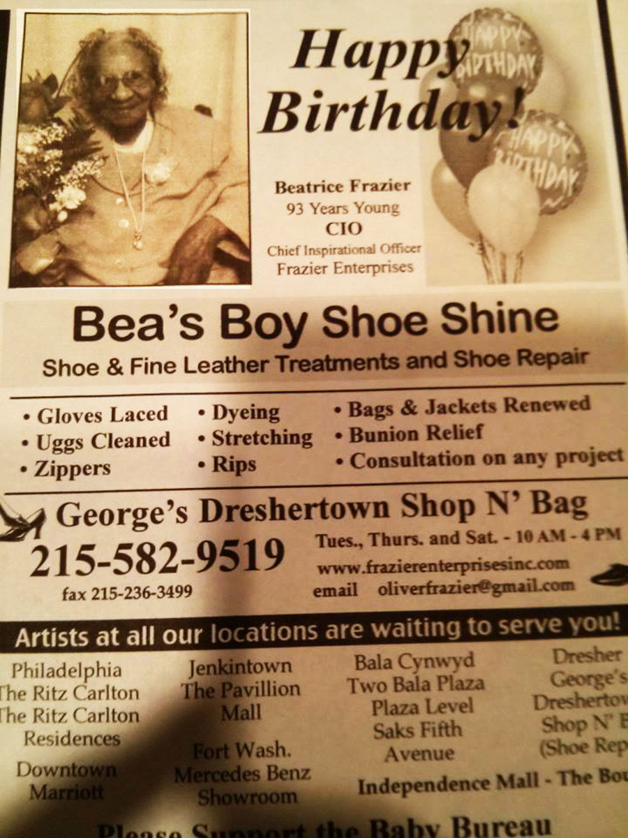 Newspaper ad on Bea's birthday