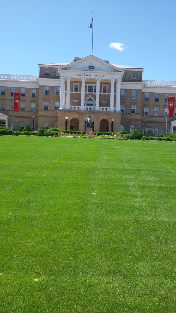 Bascom Hall at the heart of the University of Wisconsin campus in Madison.  Taken in 2019.