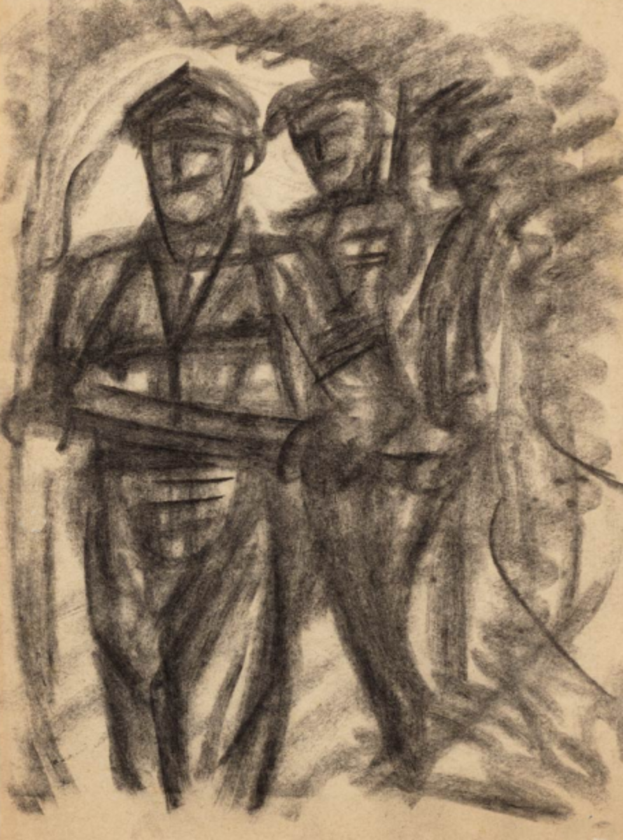 Pencil drawings of patrolling Dutch Soldiers on Java 1946-1949 by Synco Schram de Jong