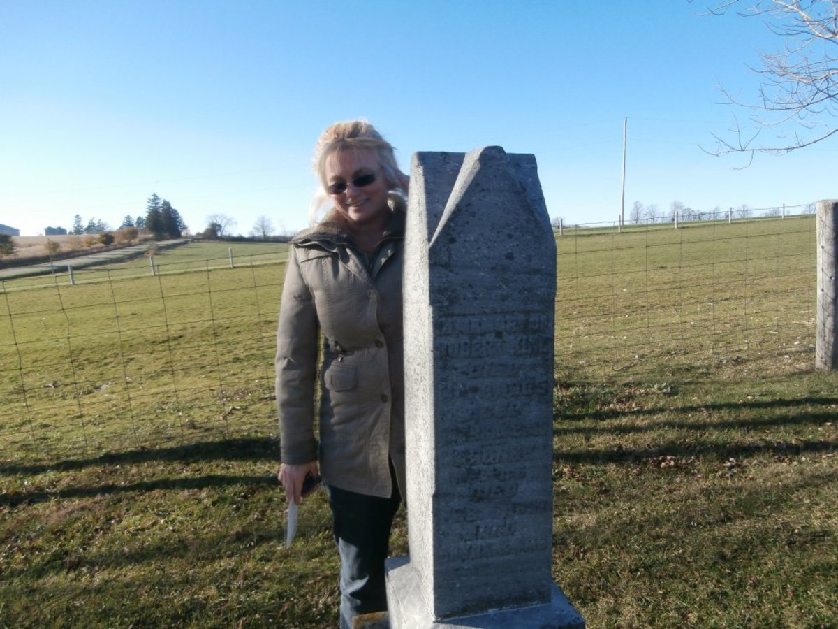Me (Barb) Standing at the Grave of My 3 & 4 Times Great Grandparents - Robert King Sr & Barbara Boyd King & Robert King & Margaret McKee King