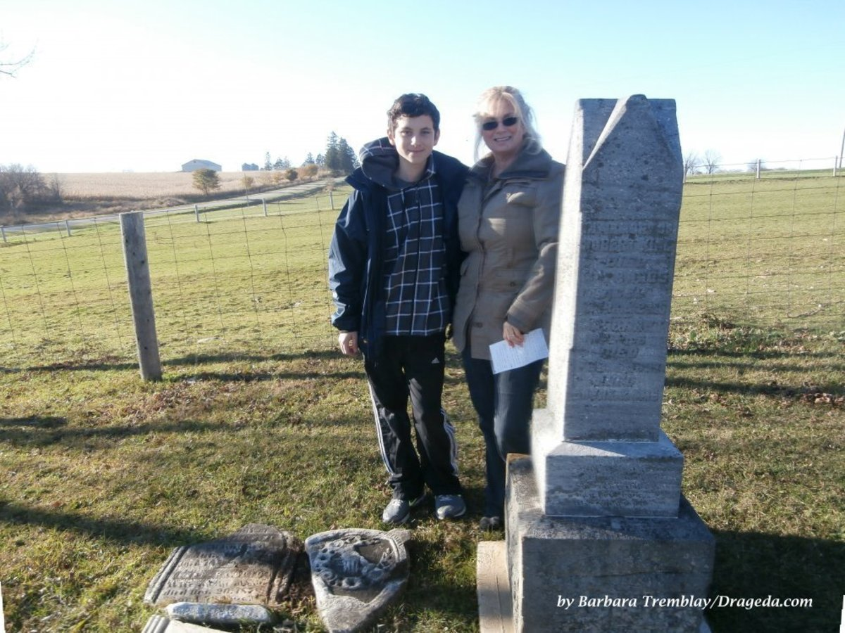 Me (Barbara) with My Youngest Son at the Graves of 3 & 4 Times Great Grandparents