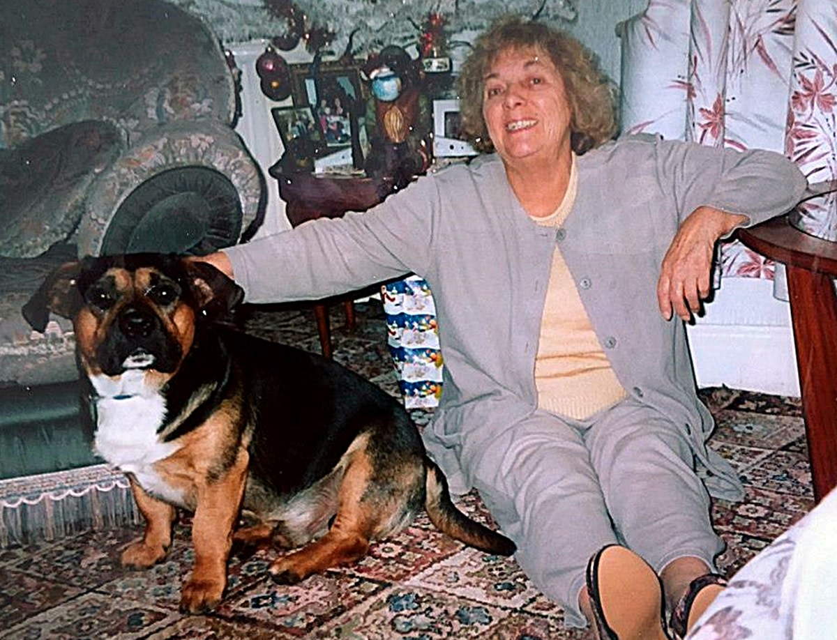 My mum with Buster, whom she adored.