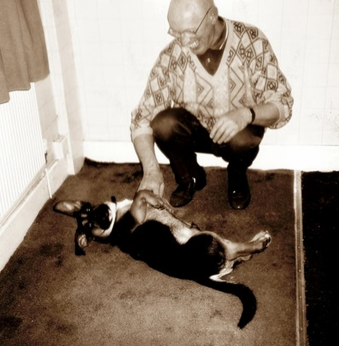 My late father with Buster - they loved each other.