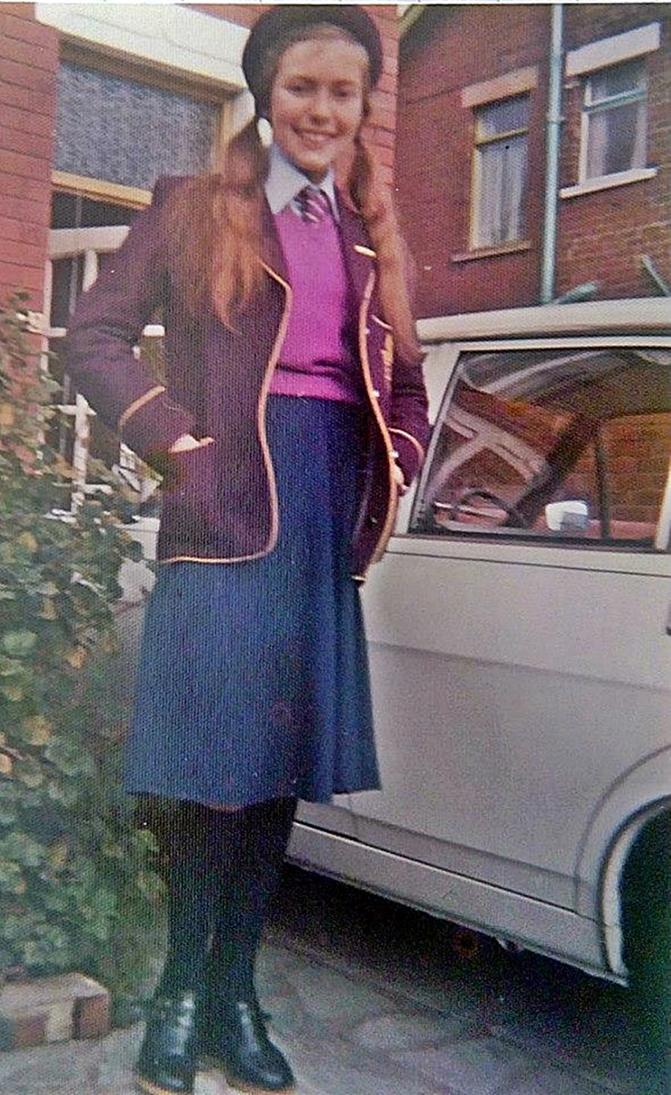 "Me in my second year at grammar school, when I was 12 or 13 years old. How I hated that hat! Also, my shoes were deemed ""unsuitable"" for school."