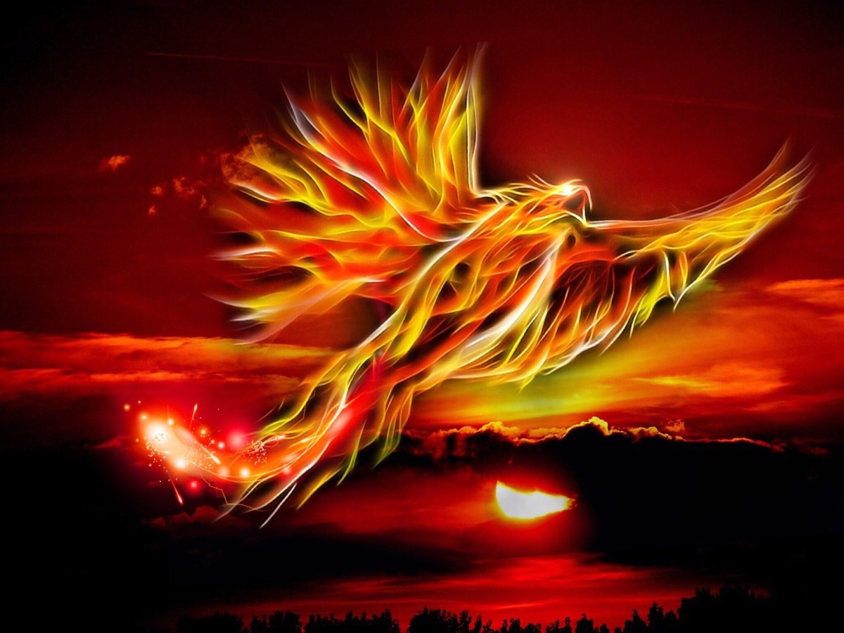 The phoenix periodically dies in a fire but is always reborn.