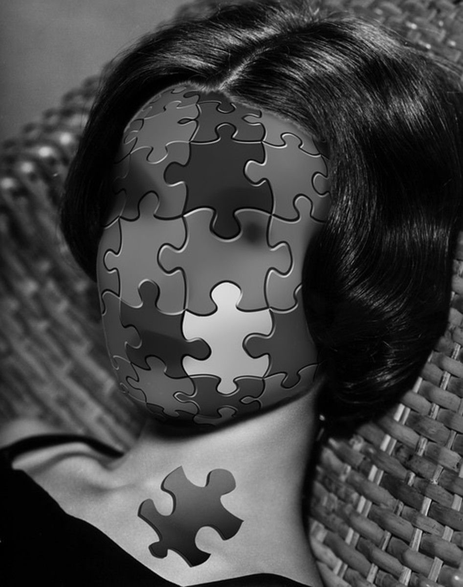 The haunting image of a woman's face is depicted by a puzzle with a missing piece, symbolic of the incompleteness she feels in her life.