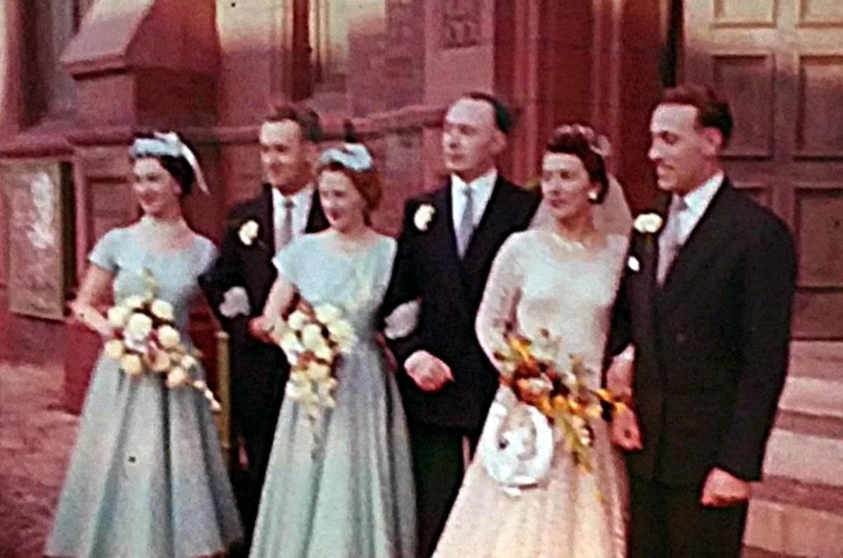Mum and dad with their bridesmaids and groomsmen in 1957