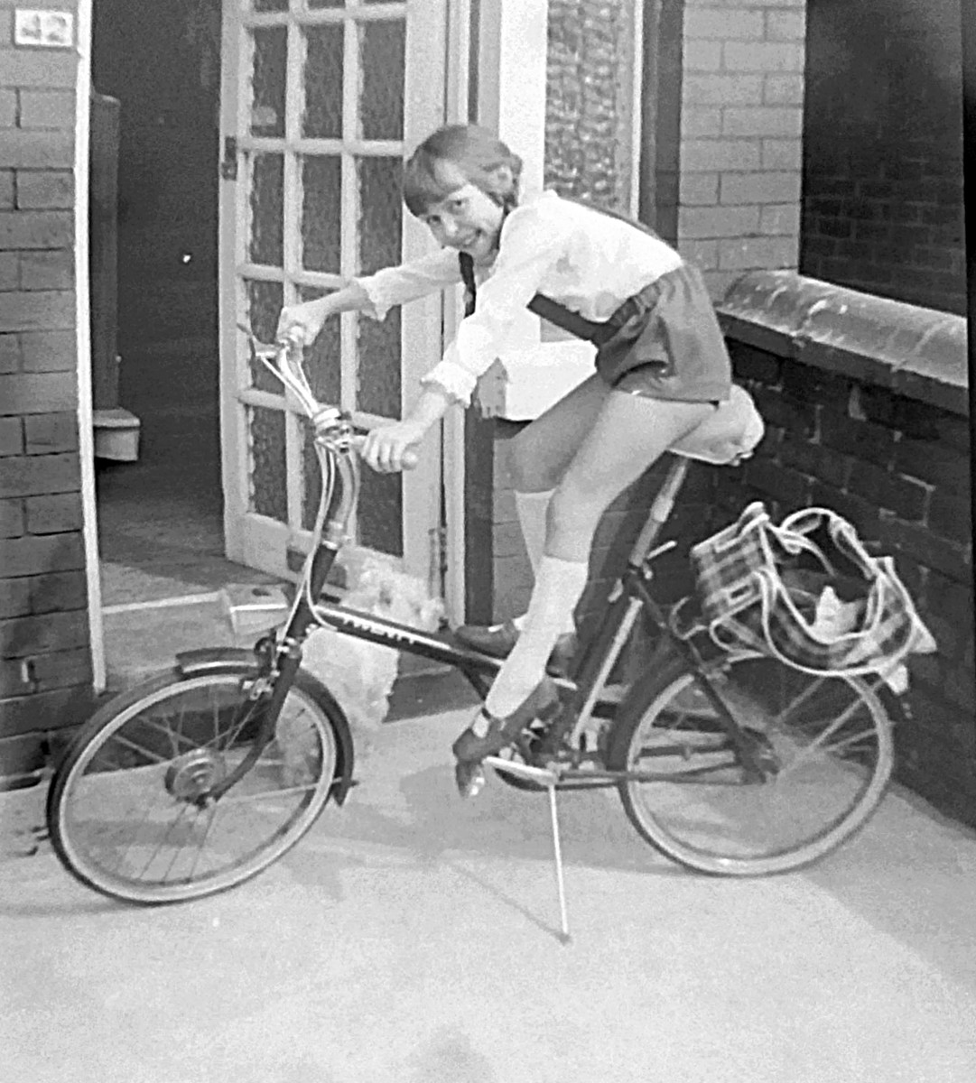 Me in the '70s trying to reach the pedals on mum's bike